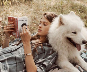 book, dog, and girl image