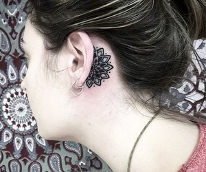 tattoo, girl, and ear image