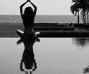 summer, yoga, and black and white image