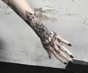 hand, tattoo, and black image