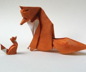 fox, origami, and Paper image