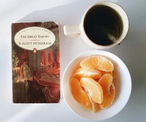 books, fruit, and orange image