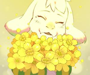 undertale, asriel, and flowers image