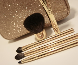 gold, makeup, and Brushes image