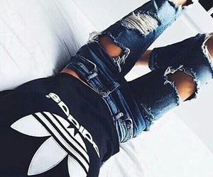 adidas, outfit, and ripped jeans image