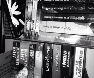 after, black and white, and books image