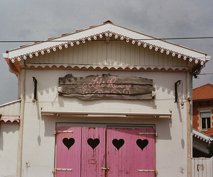 door, house, and hearts image
