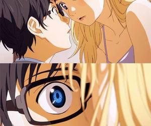anime girl, anime boy, and anime music image