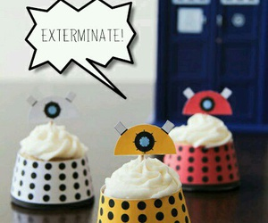 Dalek, cupcake, and dr who image