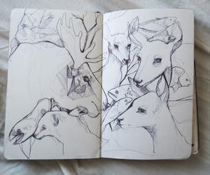 art, drawing, and deer image