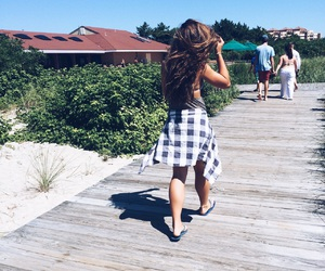 beach, boardwalk, and flannel image