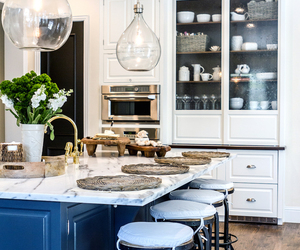 blue, kitchen, and white image