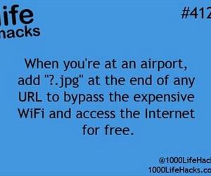 airport, life hacks, and wifi image