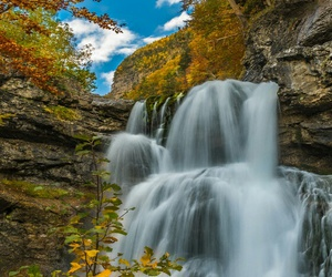 autumn, wallpaper, and waterfall image