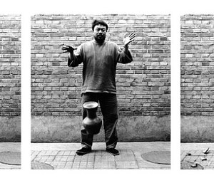 ai weiwei, black and white, and vase image