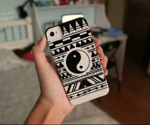 case, iphone, and black and white image