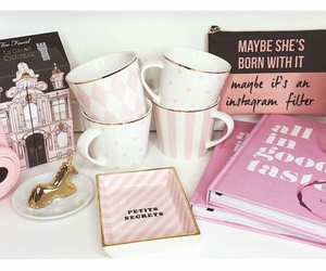 pink camera, pink tray, and jewelry dishes image