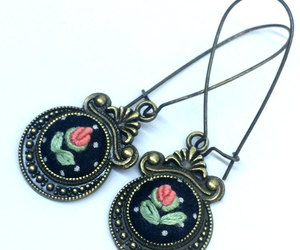 etsy, flower earrings, and fabric earrings image