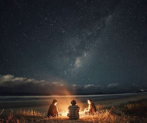 stars, fire, and nature image