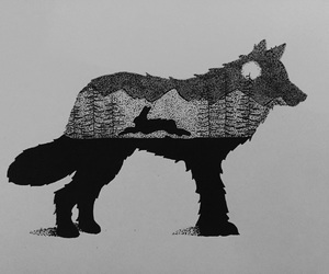 black, ink, and wolf image