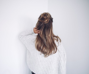 hair, bun, and sweater image