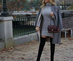 boots, chanel, and dress image