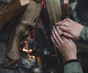 fire, hands, and nature image