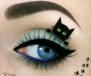 cat, makeup, and eyes image
