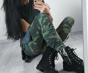 straight black hair, black combat boots, and military pants image