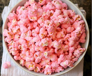pretty in pink, girly food, and pink popcorn image