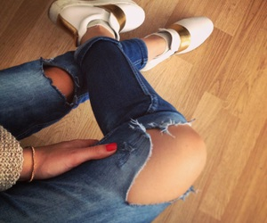 golden shoes, street style, and ripped jeans image