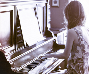 piano, girl, and photography image