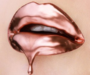 lips, rose gold, and lipstick image