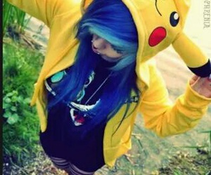 pikachu, blue, and blue hair image