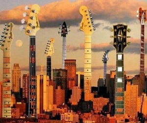 guitar, city, and rock image