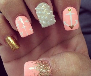 fashion, glitter, and coral nails image