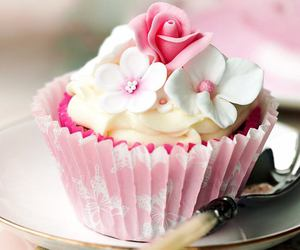 cupcake, pink, and flowers image