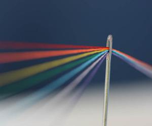 rainbow, colorful, and needle image