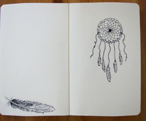 feather, drawing, and dreamcatcher image