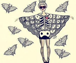 girl, art, and bat image