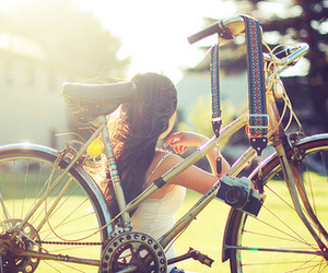 girl, bike, and camera image