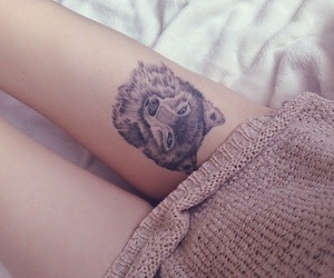 tattoo, wolf, and leg image