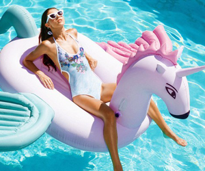 unicorn, pool, and summer image
