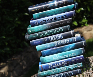 beautiful, blue, and books image