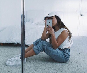 adidas, jeans, and bedroom image