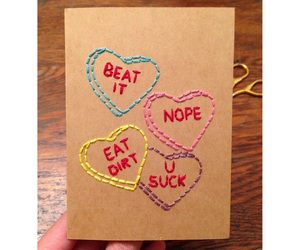 Valentine's Day, embroidered cards, and candy hearts image