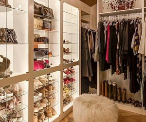 chandelier, walk in closet, and clothes image