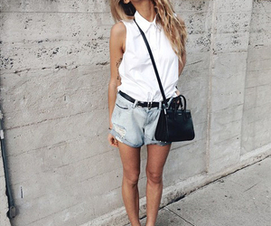 street style, white shirt, and jean short image