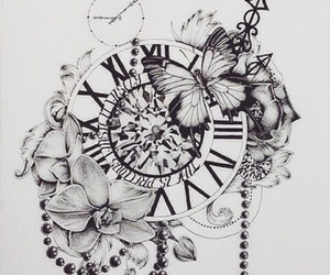 clock, drawing, and flowers image