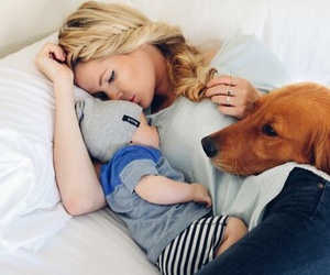 baby, dog, and family image